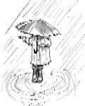 Girl in rain with umbrella