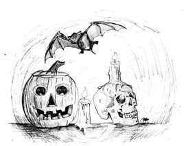 Pumpkin, Skull and Bat