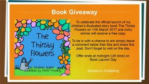 Book Launch Giveaway details